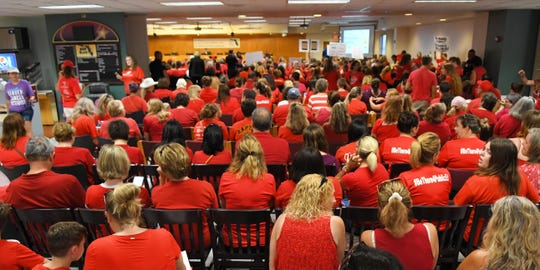 An estimated 900 teachers and their supporters rallied outside and eventually filled the school board meeting room in Viera on Monday. They were fighting for a better raise than was proposed by superintendent Mark Mullins. After hearing both sides of the issues, the school board members eventually voted 4-1 to back the Mullins plan over the teacher's union plan that an impartial magistrate endorsed.