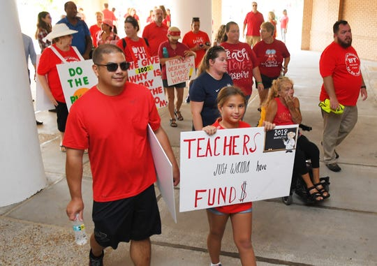 An estimated 900 teachers and their supporters rallied outside and eventually filled the school board meeting room in Viera on June 24. They were fighting for a better raise than was proposed by superintendent Mark Mullins. After hearing both sides of the issues, the school board members eventually voted 4-1 to back the Mullins plan over the teacher's union plan.