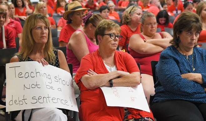Faces of disappointment as the vote nears: An estimated 900 teachers and their supporters rallied outside and eventually filled the school board meeting room in Viera on June 24. They were fighting for a better raise than was proposed by Superintendent Mark Mullins.