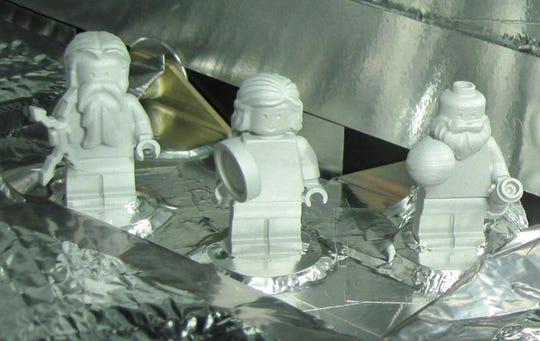 Lego figures of the Roman god Jupiter, the goddess Juno and Galileo Galilei were sent to Jupiter aboard the spacecraft Juno.