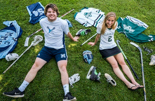 MMU's Patrick Burke, left, and Rice's Lisa McNamara are this year's picks for the Burlington Free Press Athletes of the Year. The duo posed for a portrait in Richmond on Monday, surrounded by their sports equipment and uniforms.