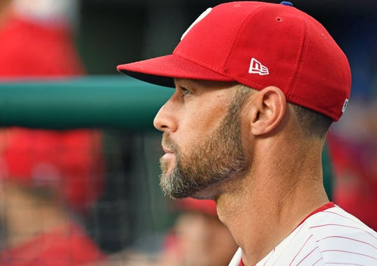 Jun 11, 2019; Philadelphia, PA, USA; Philadelphia Phillies manager Gabe Kapler (19) in the dugout against the Arizona Diamondbacks at Citizens Bank Park. Mandatory Credit: Eric Hartline-USA TODAY Sports