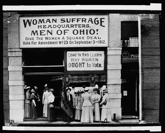 Woman suffrage headquarters on Upper Euclid Avenue, Cleveland in 1912. A symposium at OSU-Marion this weekend will discuss how women's right to vote affected Warren Harding's election to the presidency.