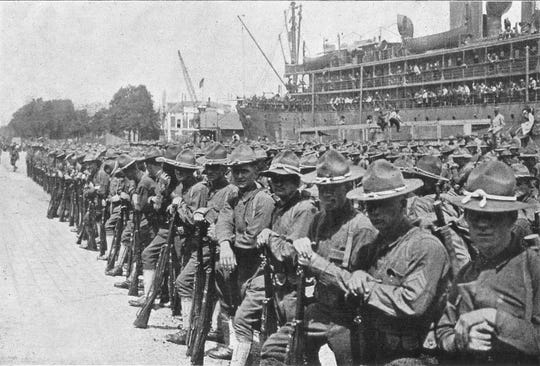 U.S. troops arrive at St. Nazaire, France, on June 26, 1917.