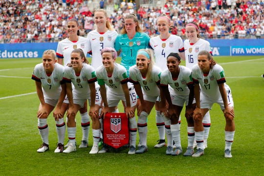 United States' starting eleven - including Rose Lavelle (16) before a round of 16 match against Spain on Monday in the FIFA Women's World Cup France 2019 at Stade Auguste-Delaune.