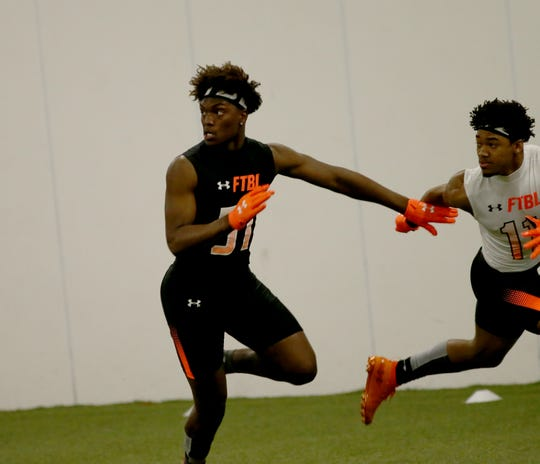 Princeton linebacker Jaheim Thomas plays  pass defense during the Under Armor All Amercian  Camp in Cincinnati, Sunday, April 14,2019.