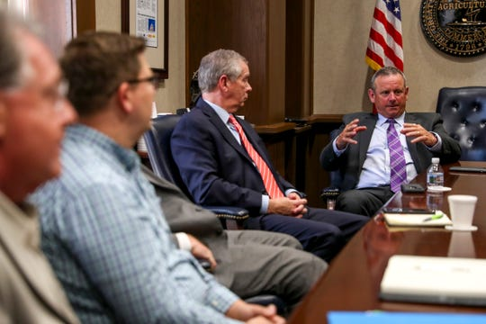 Montgomery County Mayor Jim Durrett speaks to all those in attendance during a downtown planning roundtable about the future of downtown at Mongtomery County Historic Courthouse in Clarksville, Tenn., on Monday, June 24, 2019.