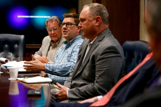 Jeff Tyndall, director of Clarksville Montgomery County Regional Planning Commission, addresses ideas during a downtown planning roundtable about the future of downtown at Mongtomery County Historic Courthouse in Clarksville, Tenn., on Monday, June 24, 2019.
