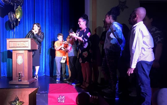"School No. 2 teacher Erica Huggins giving her acceptance speech at the Linden Public Schools Academy Awards. She and teacher Pelagia Lambrakopoulos won along with the fifth-grade class from School No. 2 in the Best Elementary Teacher/Class Project Grades 3-5 for ""NJSLA Happy."""