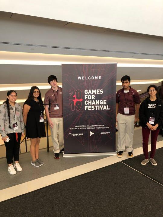 Left to right: Rutgers Prep students Divleen Singh, Shreya Aravindakshan, David Merges, Rishie Seshadri, Uma Balasubramian, at the Games for Change Festival in New York on Wednesday, June 19.