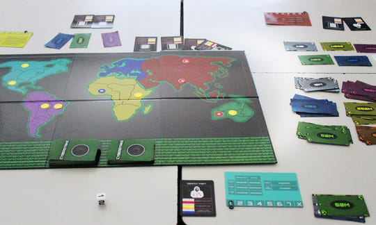 The Cyberstrike gameboard, as developed by students at Rutgers Preparatory School