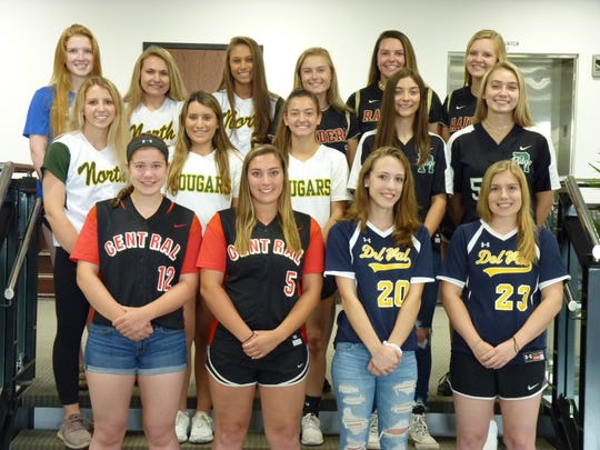 The 2019 Courier News First-Team All-Area softball honorees (top row, from left, Julia Romano, Westfield; Megan Hanily and Julia Apsel, North Hunterdon; Julia Kwiatek, Courtney Wengryn and Emily Orr, Hillsborough. Middle row (L-R): Chloe Pocceschi, North Hunterdon; Tori Ferraiolo and Sam Mallen, Montgomery; Annabelle Hamilton and Mia Robb, Ridge. Bottom row (L-R): Kaitlin Redling and Kylie Gletow, Hunterdon Central; Bri Barbadora and Meghan Haff, Delaware Valley.