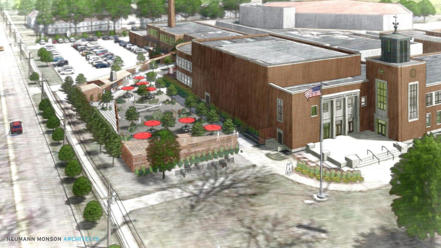 Developer gets first OK on $8M proposal to transform former Franklin Junior High into hotel, entertainment venue