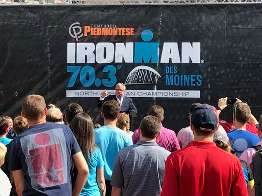 President and CEO of Catch Des Moines Greg Edwards announces the Ironman 70.3 North American Championship in Des Moines on June 24. The event will take place on June 21, 2020.