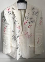 The white coat belonging to Frank Molak, worn to the last 10 playoff games played by the Toronto Raptors and signed by Raptors players, TV announcers, Drake, Nick Nurse and his coaching staff following their victory in the NBA Finals on June 13, 2019.
