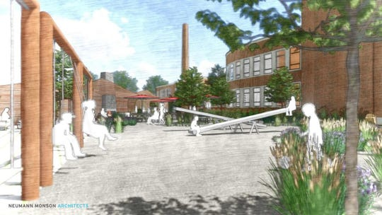 A conceptual image of the garden at Franklin Junior High. It's proposed to have a restaurant and outdoor play space.