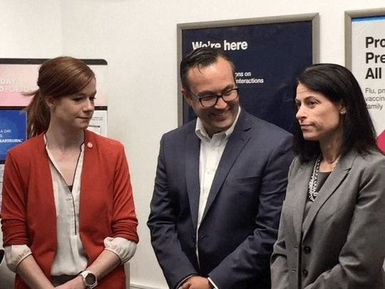 From left, State Sen. Mallory McMorrow, D-Royal Oak, Royal Oak Mayor Mike Fournier and Michigan Attorney General Dana Nessel appear at a news conference on Monday, June 24, 2019, in Royal Oak.