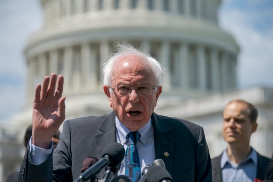 Democratic presidential candidate, Sen. Bernie Sanders, I-Vt., announces his legislation to cancel all student debt, at the Capitol in Washington, Monday, June 24, 2019. Sanders called the student debt burden in this country the absurdity of sentencing an entire generation, the millennial generation, to a lifetime of debt for the crime of doing the right thing. (AP Photo/J. Scott Applewhite)