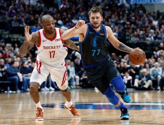 Dallas Mavericks guard Luka Doncic (77) averaged 21.2 points per game as a rookie.