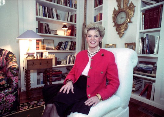 Judith Krantz, poses in an undated file photo during an interview at her home in the Bel Air section of Los Angeles, Ca.