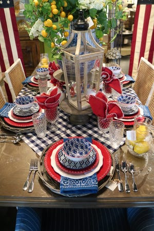 Adding a bright pop of yellow citrus to a red, white and blue tablescape brings in a summertime freshness that can't be beat.