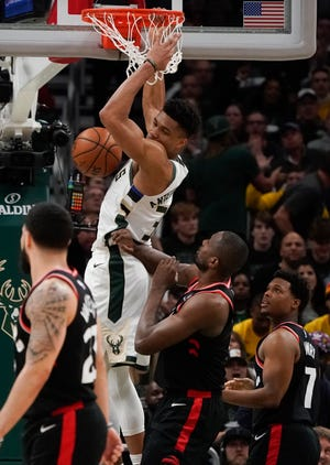 Milwaukee Bucks forward Giannis Antetokounmpo is up for the NBA's Most Valuable Player and Defensive Player of the Year awards.