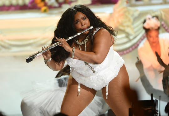 "Lizzo performs ""Truth Hurts"" at the BET Awards on Sunday, June 23, 2019, at the Microsoft Theater in Los Angeles."