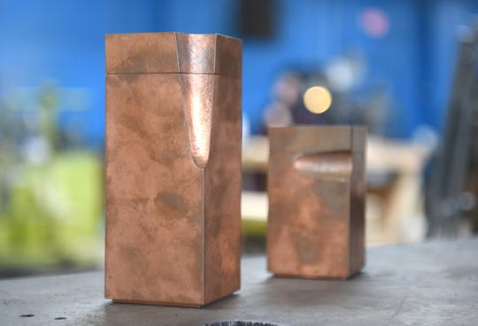 Copper boolean boxes are created at the Smith Shop in Highland Park.