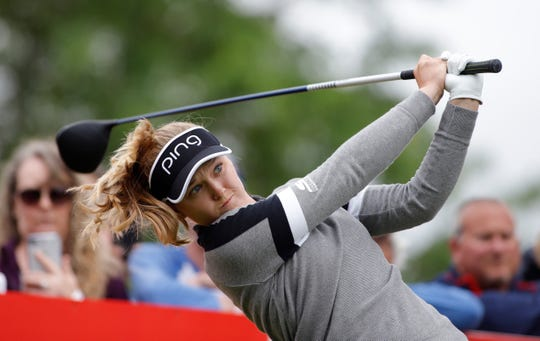 Brooke Henderson hits a tee shot during the final round of the Meijer LPA Classic in Grand Rapids last month.