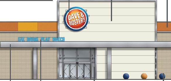 Dave & Busters has submitted exterior renderings to Ashwaubenon. The chain has proposed converting the Younkers Furniture Gallery space at Bay Park Square into a 27,000-square-foot restaurant, bar and arcade.