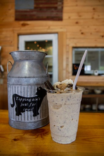 """The """"Cookie Monster"""" milkshake is made with cookie dough, fresh brownies and Oreos."""