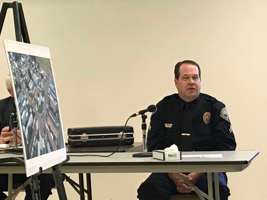 GFPD Officer Steve O'Brien testifies at a coroner's inquest into the shooting death of Charles Anthony Marcotte on Aug. 19, 2018, in Great Falls.