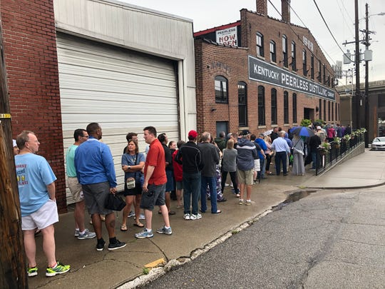 The line to get into Kentucky Peerless Distilling at 10 a.m. last Saturday stretched the length of a city block. The distillery is located at 120 N. 10th St. in Downtown Louisville.