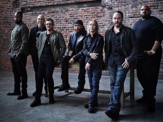 The Dave Matthews Band (from left, Buddy Strong, Jeff Coffin, Stefan Lessard, Carter Beauford, Tim Reynolds, Dave Matthews and Rashawn Ross) will perform June 28-29 at Ruoff Home Mortgage Music Center.