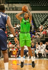 Aliens Brandon Rush (4) shoots for three points during the Big 3 game at Bankers Life Fieldhouse, Indianapolis, Sunday, June 23, 2019.