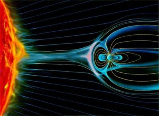 This depiction shows the sun's supersonic  wind colliding with Earth's magnetic field. A team led by University of Iowa physicist Craig Kletzing was awarded a contract to study the relationship between solar wind an earth's magnetic field.