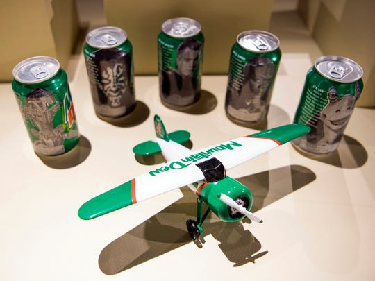Mountain Dew items that will be on display in an exhibit dedicated to Mountain Dew and its origins in Tennessee at the Museum of East Tennessee History in downtown Knoxville on Monday, June 24, 2019.