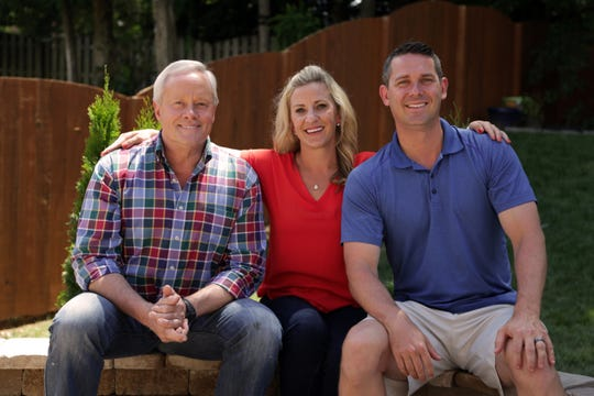 """Today's Homeowner"" host Danny Lipford and Knoxville's Jason and Sarah Gulley pose together for a photo. Lipford and the TV show gave the Gulleys a backyard makeover."