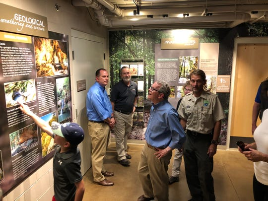 Governor Mike DeWine tours the newly opened Hocking Hills Visitor Center.