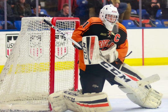 Logan Neaton, who backstopped Brighton to the 2017 state hockey championship, was chosen by the Winnipeg Jets in the fifth round of the NHL Draft.