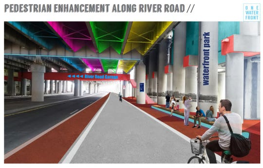 Conceptual rendering showing the proposed pedestrian enhancement along River Road downtown.