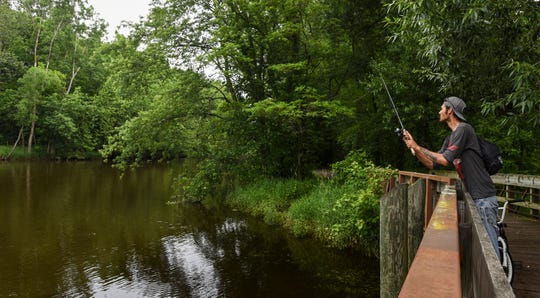 "Fisherman Danny Kylee of Lansing casts a line in the Red Cedar River Monday afternoon near Aurelius Road. Kylee said he had caught six bass and four pike. He said he was aware of the ""no contact"" advisory due to wastewater spillage."
