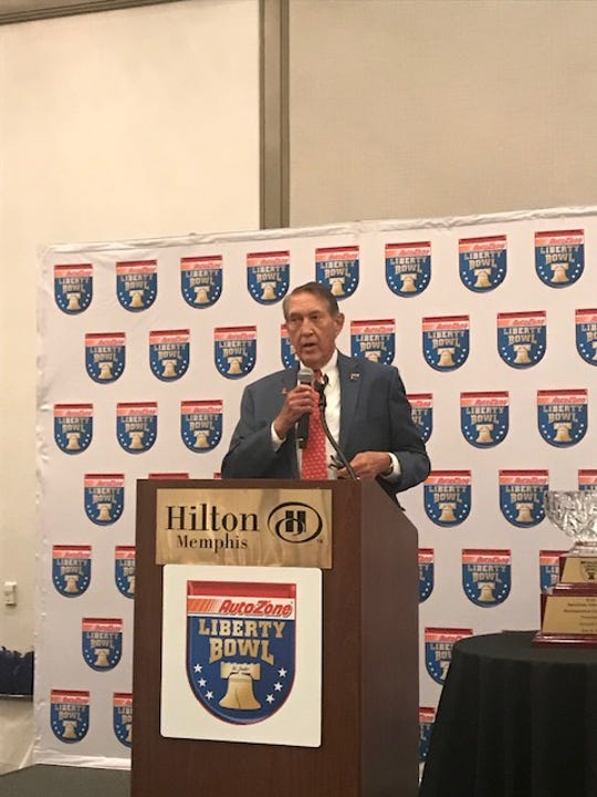 Donald Dell accepted the AutoZone Liberty Bowl's 2019 Distinguished Citizen Award Sunday night, June 23, 2019