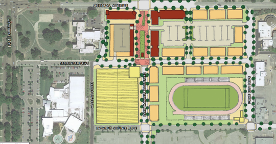 An aerial overview of what the potential redevelopment of the Mid-South Fairgrounds would look like.