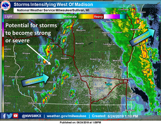 Storms were beginning to intensify west of Madison on Monday afternoon, according to the National Weather Service.