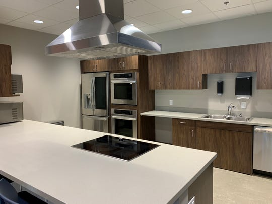 This is the training kitchen inside the YMCA's New Berlin Wellness Center. Sitting adjacent to a conference room, it allows staff to demonstrate how to prepare meals with proper nutrition in mind.