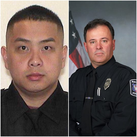 Milwaukee Police Officer Kou Her and Racine Police Officer John Hetland.