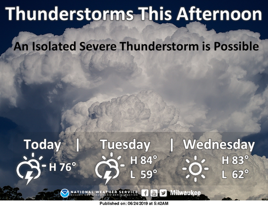 Thunderstorms are expected across southern Wisconsin on Monday.