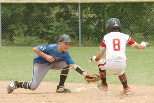 Mountain Home's Lincoln Sherry tags Paragould's Ripken Tucker at second base Sunday.