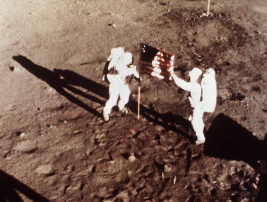 """Apollo 11 astronauts Neil Armstrong and Edwin E. """"Buzz"""" Aldrin, the first men to land on the moon"""